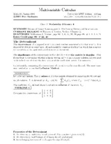 Multivariable Calculus:  Linear Systems Worksheet