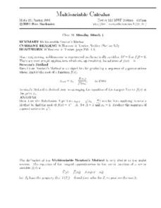 Multivariable Calculus:  Newton's Method Worksheet