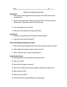 Mummification: Reading Study Guide Worksheet