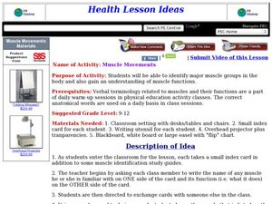 Muscle Movements Lesson Plan