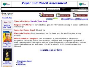 Muscle Word Seek Lesson Plan