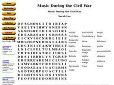Music During the Civil War Worksheet