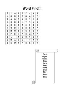 Music Word Search Lesson Plan