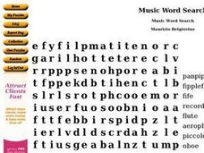 Music Word Search Worksheet