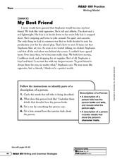 My Best Friend: Description of a Person Worksheet