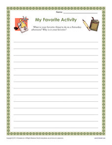 My Favorite Activity Worksheet