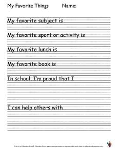 My Favorite Things Worksheet