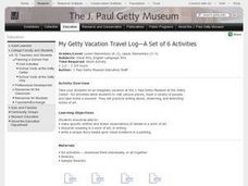 My Getty Vacation Travel Log-A Set of 6 Activities Lesson Plan