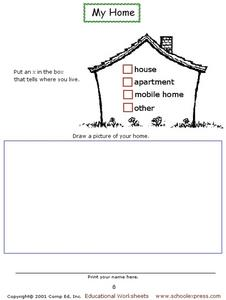 My Home Worksheet
