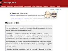 My Name is Ben Worksheet