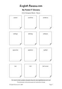 My Pocket IT of Computer Words- Nouns Worksheet