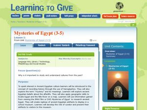 Mysteries of Egypt Lesson Plan