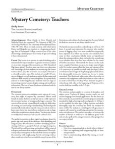 Mystery Cemetary: Teachers Lesson Plan
