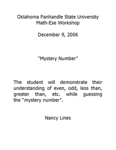 Mystery Number Lesson Plan