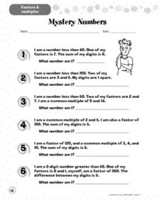 Mystery Numbers Worksheet