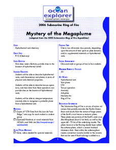 Mystery of the Megaplume Lesson Plan