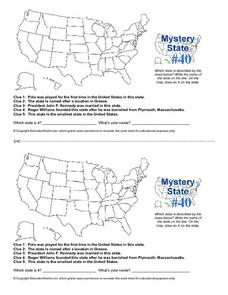 Mystery State #40 Worksheet