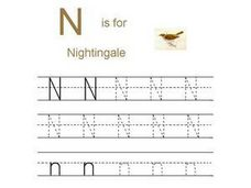 N is for Nightingale- Printing Practice N,n Worksheet