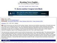 N. Korea Nuclear Weapon Tests Likely - Easier Version Worksheet