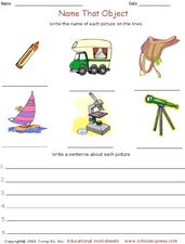 Name That Object Worksheet