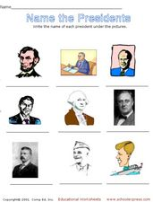 Name the Presidents Worksheet