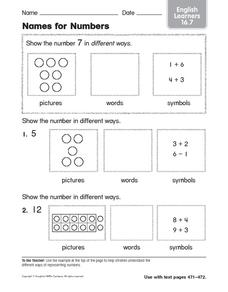 Names for Numbers 3 Worksheet