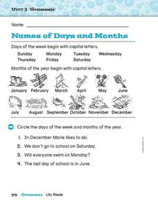 Names of Days and Months Worksheet