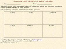 Naming Compounds 1 Worksheet
