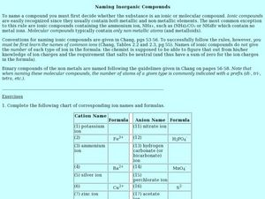 Naming Inorganic Compounds Worksheet