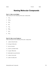 BINARY IONIC AND MOLECULAR COMPOUNDS WORKSHEET