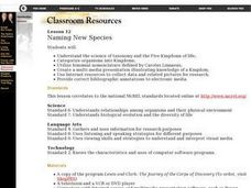 Naming New Species Lesson Plan