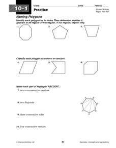 Naming Polygons and Diagonals Worksheet