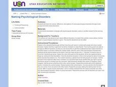 Naming Psychological Disorders Lesson Plan