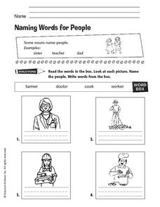 Naming Words for People Worksheet