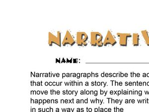 Narrative Paragraph: What Happens To The Cookie? Worksheet