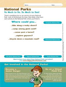 National Parks: So Much to Do, So Much to See! Worksheet