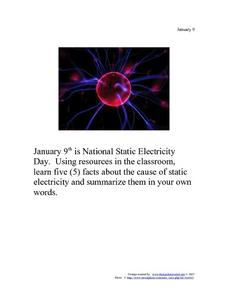 National Static Electricity Day: January 9 Worksheet