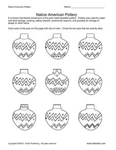Native American Pottery Worksheet