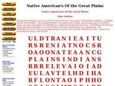 Native American's Of the Great Plains Worksheet