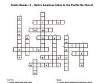 Native American Tribes in the Pacific Northwest- Crossword Worksheet