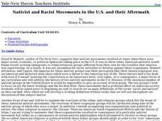 Nativist and Racist Movements in the U.S. and their Aftermath Lesson Plan