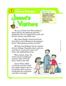 Natural Dialogue: Jenna's Visitors Worksheet