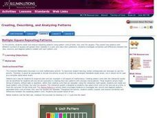 NCTM : Illuminations Lessons : Making Patterns - Multiple-Square Repeating Patterns Lesson Plan