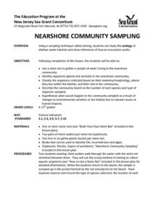 NEARSHORE COMMUNITY SAMPLING Lesson Plan