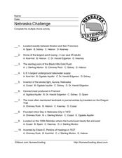 Nebraska Challenge Worksheet