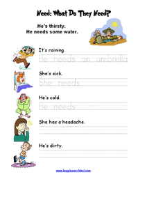 Need: What Do They Need? Worksheet