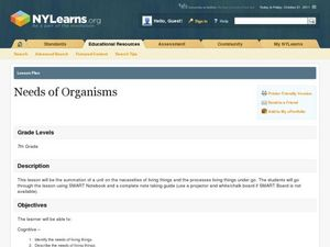 Needs of Organisms Lesson Plan