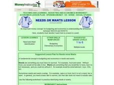 Needs or Wants Lesson Plan