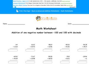Negative Number Addition With Decimals Worksheet