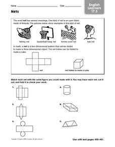 Nets - English Learners 17.3 Worksheet